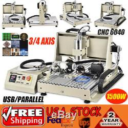 1.5KW 3/4 Axis USB CNC Router 6040T Engraver Metal Carver Mill Drilling Machine