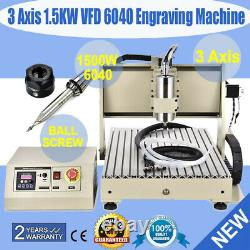1.5KW 3axis 6040Z CNC Router Engraver Metal Milling Drilling Cutting Machine+VFD