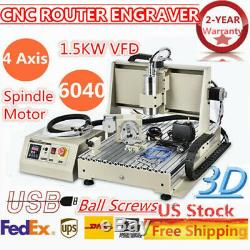 1.5KW 4 Axis USB DIY CNC 6040 Router Engraver Machine Drilling/Milling Cutter