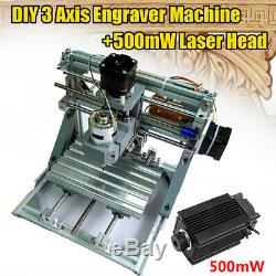 12V 3 Axis CNC Router Machine & 500mW Laser Engraving PCB Milling Wood
