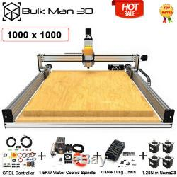 1x1m 4 Axis LEAD CNC Router Machine Full Kit GRBL 1.5KW Water Cooled CNC Milling