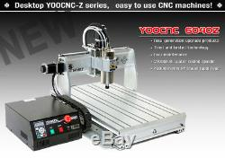 2.2KW 4 Axis 6040 USB Mach3 CNC Engraving Drilling Mill Router Machine 110V/220V