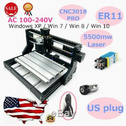 2 in 1 CNC 3018PRO Router Kit 5500mW Laser Head Mill Engraver Machine 3Axis ER11