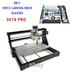 220V 3 Axis CNC 3018 PRO Machine Router Engraving PCB Wood DIY Mill+2500mw Laser