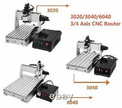 3/4 Axis 3020/3040/6040 CNC Router Milling Engraving Machine Engraver USB Port