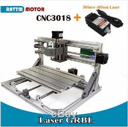 3 Axis 3018 GRBL Control DIY CNC Laser Machine Milling Wood Router+500mw Laser