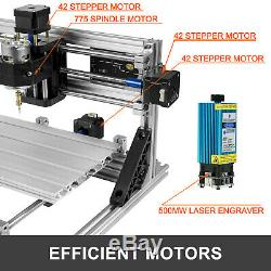 3 Axis CNC Router 2418 500MW Laser + Offline Controller Engraver Milling Machine