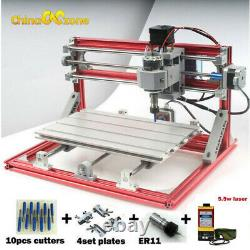 3 Axis CNC Router Engraver &5.5W laser Module PCB Wood Carving Milling Engraving
