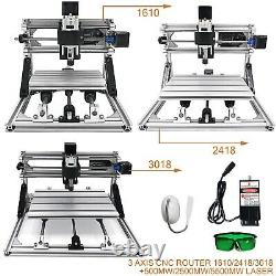 3 Axis CNC Router Kit 1610/2418/3018 + 500mwith2500mwith5500mw Laser Engraver DIY