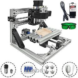3 Axis CNC Router Kit 16x10x40mm DIY Woodworking PVC Milling 2500MW Laser Head