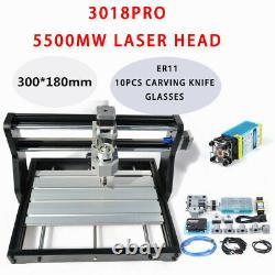 3 Axis DIY CNC 3018Pro GRBL Control Router Engraver Milling Machine+5500mw Laser