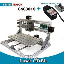 3 Axis Mini 3018 GRBL Control CNC Router Engraver Milling Machine+5500mw Laser