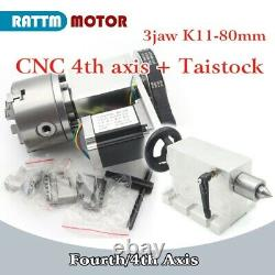 3 Jaw Chuck K11-80mm 4th Fourth Axis Rotation+65mm Tailstock CNC Router Milling