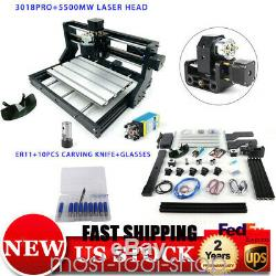 3018PRO CNC Machine Router 3 Axis Engraving PCB Wood Mill& 5500mw Laser Head DIY