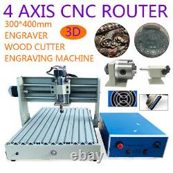 3040LL CNC 4 Axis Router Engraver Milling 3D Cutting Carving Machine 400W