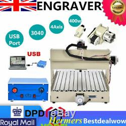 3040Z USB 4 Axis Engraver CNC Router Engraving Milling 3D Cutting Machine 400W