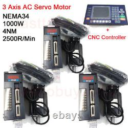 3Axis 4NM 1KW AC Servo Motor NEMA34 Drive 2500RPM+Controller for CNC Mill Router