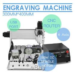 4 Axis 3040 DIY Desktop CNC Router Engraver Milling Machine Engraving Drilling