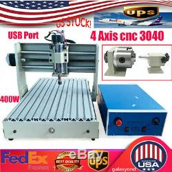 4 Axis 3040T CNC Engraving Milling Machine USB Router Engraver 3D Cutting 400W