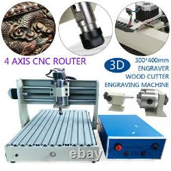 4 Axis 400W CNC 3040 Router 3D Engraver PCB wood Engraving Drill Milling Machine