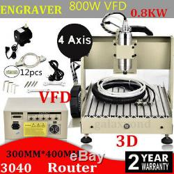 4 Axis CNC 3040T Router Engraver Engraving Drilling Milling Machine 300x400 800W
