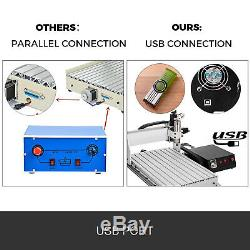 4 Axis CNC Router 3020 Engraving Milling Machine Woodworking Chrome Cutter USB