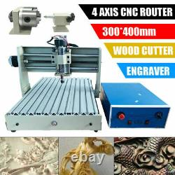 4 Axis USB 3040 CNC Router Engraver 3D Wood Engraving Drilling Milling Machine