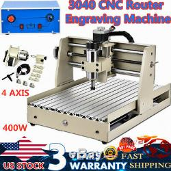 4 /four axis 3040 cnc router engraver engraving milling machine 400W desktop USA