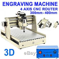 400W CNC Router Engraver Engraving Cutting Milling Drilling Machine 4 Axis 3040