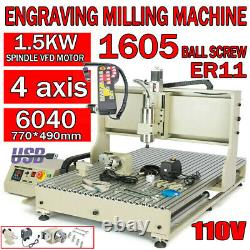 4Axis CNC 1500W 6040 Router Engraving USB Port Machine Metal Milling Drilling x1