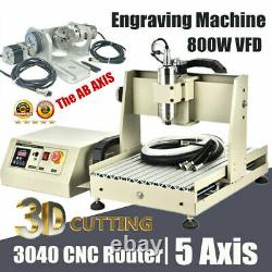 5 Axis 3040 CNC Router Engraving Milling Machine Engraver Drilling Cutting 800W