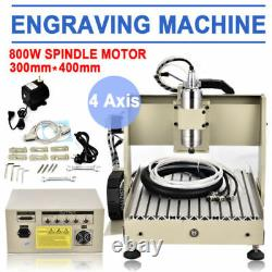 800W USB 4AXIS 3040 CNC Router Router Engraver Drilling Milling Machine Ball-S