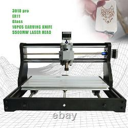 CNC 3018 PRO 3 Axis Router Engraving PCB Milling Machine +5500mw Laser Head New