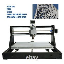 CNC 3018 PRO Machine Router 3 Axis Engraving Wood PCB DIY Mill+5500mw Laser Head