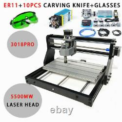 CNC 3018 PRO Router 3 Axis Engraver Machine Metal Wood Mill with 5500mw Laser Head