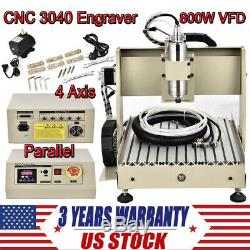CNC 3040 4 Axis Wood milling machine 800W PCB engraving router with Ball screw