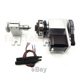 CNC Lathe Rotary Axis A-axis 4th-axis CNC Router Rotational 4Jaw 50mm Chunk Mill