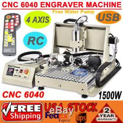 CNC Router 1500W USB 4axis 6040 Engraver Woodworking Metal Mill Cut Machine + RC