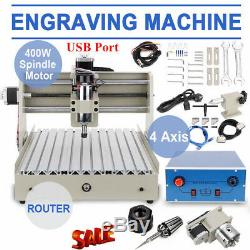 CNC Router 4 Axis USB 3040 Engraving Mill Engraver Machine Wood Cutter 400W SALE
