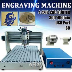 CNC Router Engraver 4Axis 3040 Engraving Milling Drilling Machine USB 3D Cutter
