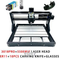CNC3018Pro Router Wood Engraving DIY Milling Machine 3 Axis & ER11+5500mw Laser
