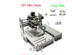 DIY 3 Axis CNC Milling Machine 300W Spindle Wood Carving Router Machine with USB