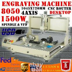 MINI USB 4 Axis 1500W CNC 8050 Router Metal Engraving Cutting/Milling Machine CE