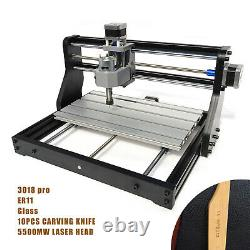 PRO 3 Axis CNC 3018 Machine Router Engraving PCB Wood DIY Mill+5500mw Laser Head