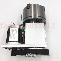 Rotary Axis 4th Axis 4Jaw 100mm Lathe Chuck 41 NEMA34 Motor CNC Router Milling