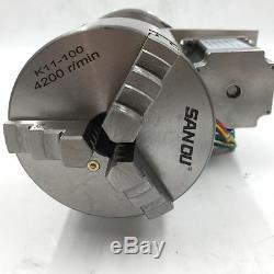Rotary Table Axis 4th Axis CNC 100mm 3Jaw Chuck for CNC Router Milling Engraving