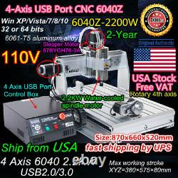 US USB 4Axis 6040 2.2KW ER20 CNC Router Cutter Drill Milling Engraving Machine