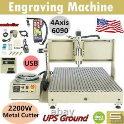 USB 2.2KW CNC 6090Z Router 4 Axis Engraver Wood Drill/Milling Machine+Controller