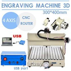 USB 3/4Axis CNC 3040/6040/6090 Router Engraver Engraving Machine Mill / Drill US