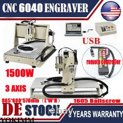 USB 3 AXIS CNC 6040Z Router Engraver Drill Milling Machine 1.5KW VFD +Controller